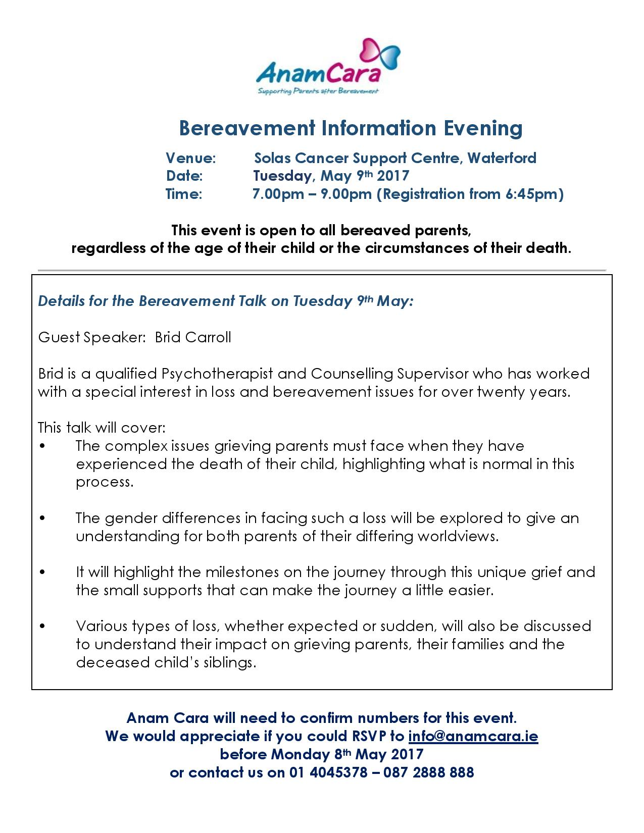 Waterford Bereavement Information Evening May 2017- poster-page-001