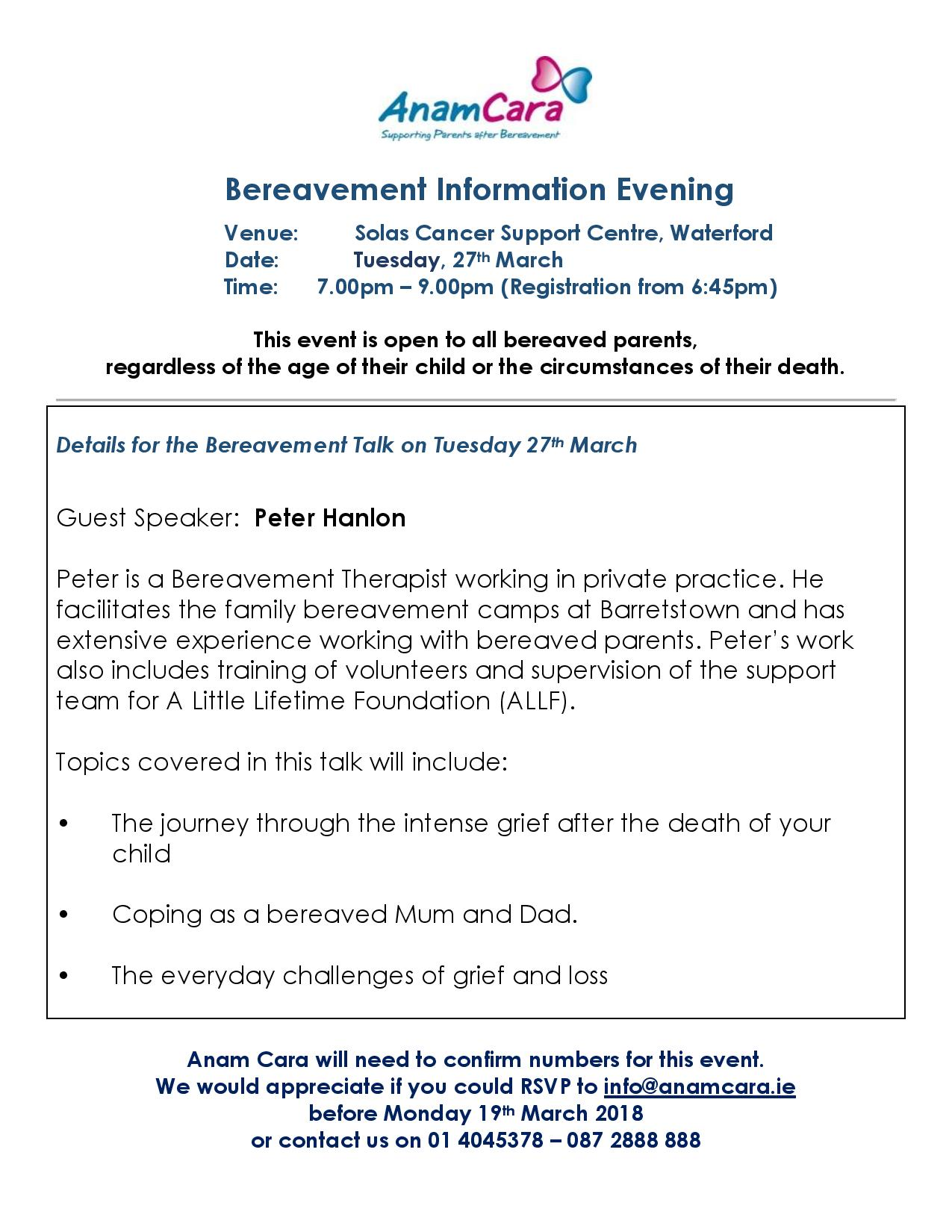 Waterford Bereavement Information Evening March 2018- poster-page-001